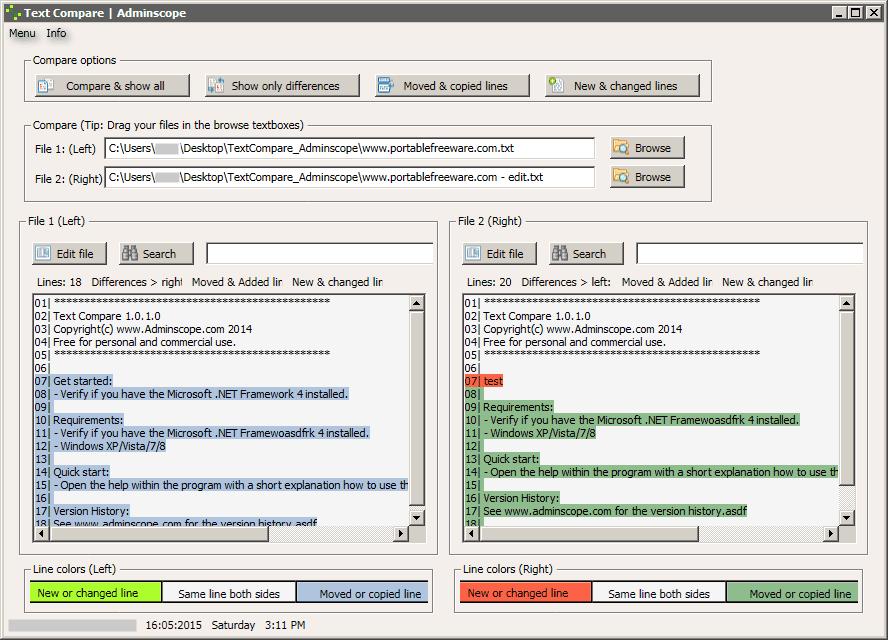Text - Comparison - The Portable Freeware Collection