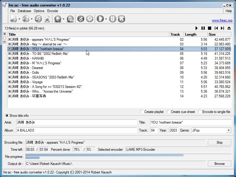Freac free audio converter.