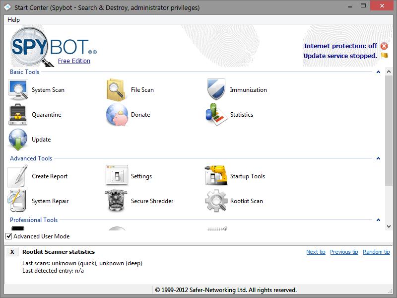 spybot x.x free edition